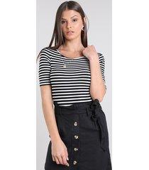 body feminino básico listrado com vazado manga curta decote redondo preto
