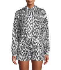 la moda clothing women's snake print cropped hoodie - snake print - size l