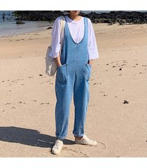 zanzea mujeres sin mangas denim blue bib cargo pants dungraee jumpsuit romper overol -azul claro