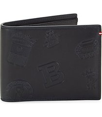 embossed bi-fold leather wallet