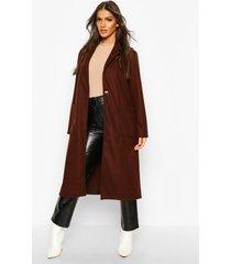 longline patch pocket wool look coat, chocolate