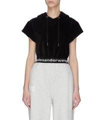 logo waistband corduroy sleeveless hoodie