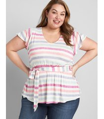 lane bryant women's flutter-sleeve belted top 18/20 textured stripe