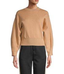 lucca women's crewneck long-sleeve sweater - light mocha - size l