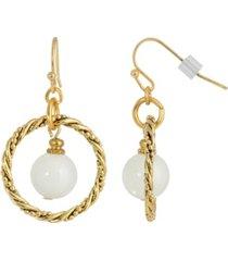2028 gold-tone semi precious round stone in hoop earrings