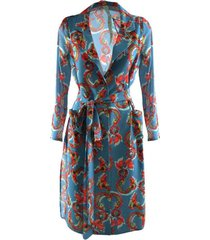 il tea delle 5 short woman dress with blue dragons pattern