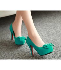 pp337 trendy high-heeled pump w bowtie top, nubuck leather.us size 4-8.5,green