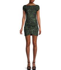 love ady women's printed asymmetric hem mini dress - olive black - size s