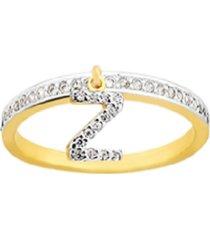 anel la madame co letra z dourada - tricae