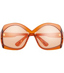 tom ford cheyenne 68mm oversize butterfly sunglasses in shiny amber /burnt orange at nordstrom