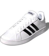 tenis blanco adidas grand court base cloud white / core black / dark blue ee7904