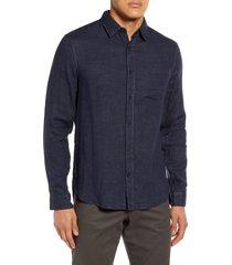 men's vince regular fit double face button-up shirt, size large - blue