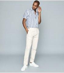 reiss bream - striped linen shirt in blue & white, mens, size xxl
