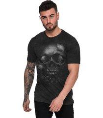 camiseta di nuevo camiseta rock caveira black grafite