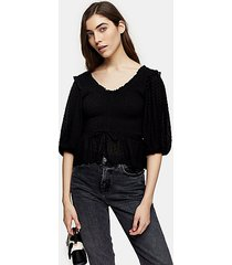 black shirred prairie blouse - black