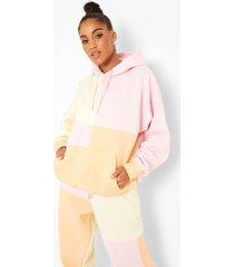 pastel colour block hoodie, multi