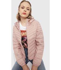 parka only demi quilt hooded rosa - calce ajustado