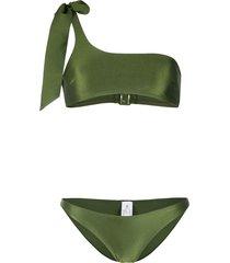 zimmermann empire tie one-shoulder bikini - green