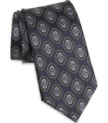 men's ermenegildo zegna medallion silk tie, size one size - blue