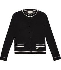 gucci fine viscose cardigan - black