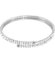 bracciale bangle doppio in metallo rodiato e cristalli per donna