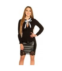 sexy blouse met strik om vast te binden zwart