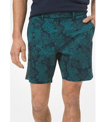 mk shorts in cotone stretch con stampa palme - notte (blu) - michael kors