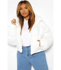 plus funnel neck cropped puffer jacket, white