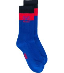 kenzo logo embroidered socks - blue