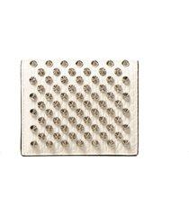 christian louboutin white/silver snake printed leather w palatin wallet