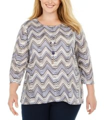 alfred dunner plus size sapphire skies knit necklace top