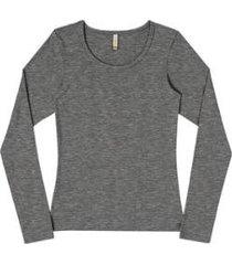 blusa marialicia manga longa gola redonda feminina - feminino