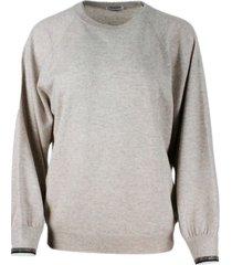brunello cucinelli cashmere crewneck sweater with monili on the cuff