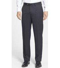 men's berle flat front classic fit wool gabardine dress pants, size 36 x unh - black