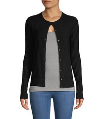 textured button-front cardigan