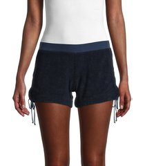 hard tail women's side-tie track shorts - blue - size l