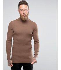 asos - maglione marrone lungo a collo alto attillato a coste - marrone