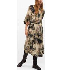 mango women's flowy flower printed dress