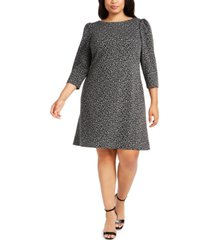 calvin klein plus size animal-print ponte-knit dress