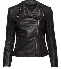 jacket w/studs läderrock rock svart depeche