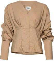 addison shirt blus långärmad beige second female