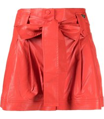 twinset bow-detail shorts - red