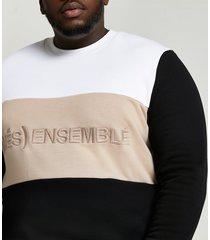 river island mens big & tall white graphic print sweatshirt