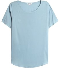 blusa amplia unicolor color azul, talla 8