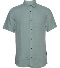 regular fit- shortsleeve garment -dyed linen shirt overhemd met korte mouwen groen scotch & soda