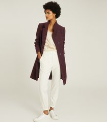 reiss marcie - wool blend mid length coat in berry, womens, size 10