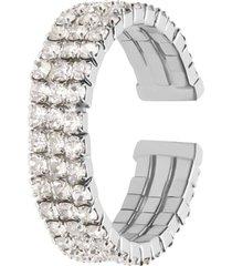 anello a fascia regolabile rodiato e strass multifilo per donna
