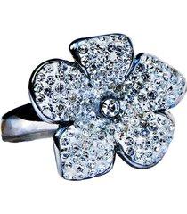 anillo flor 100 cristales plateado viva felicia