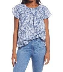 caslon(r) petal sleeve top, size medium in ivory- blue speckle camo at nordstrom