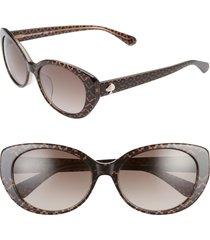 women's kate spade new york everett 56mm special fit gradient cat eye sunglasses - brown/ brown gradient